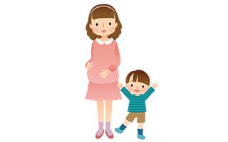 妊婦と子供のイラスト