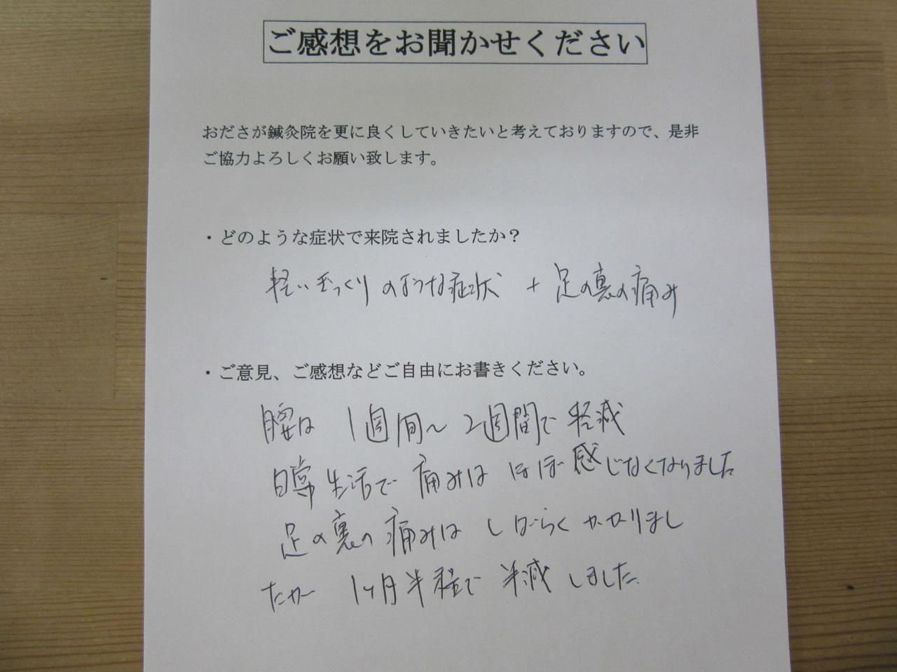 患者からの 手書き手紙 税理士 急性腰痛、足裏の痛み