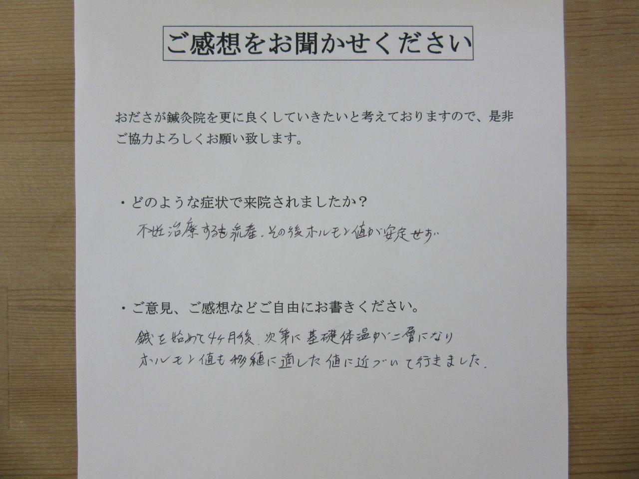 患者からの 手書き手紙 専業主婦 婦人科系疾患